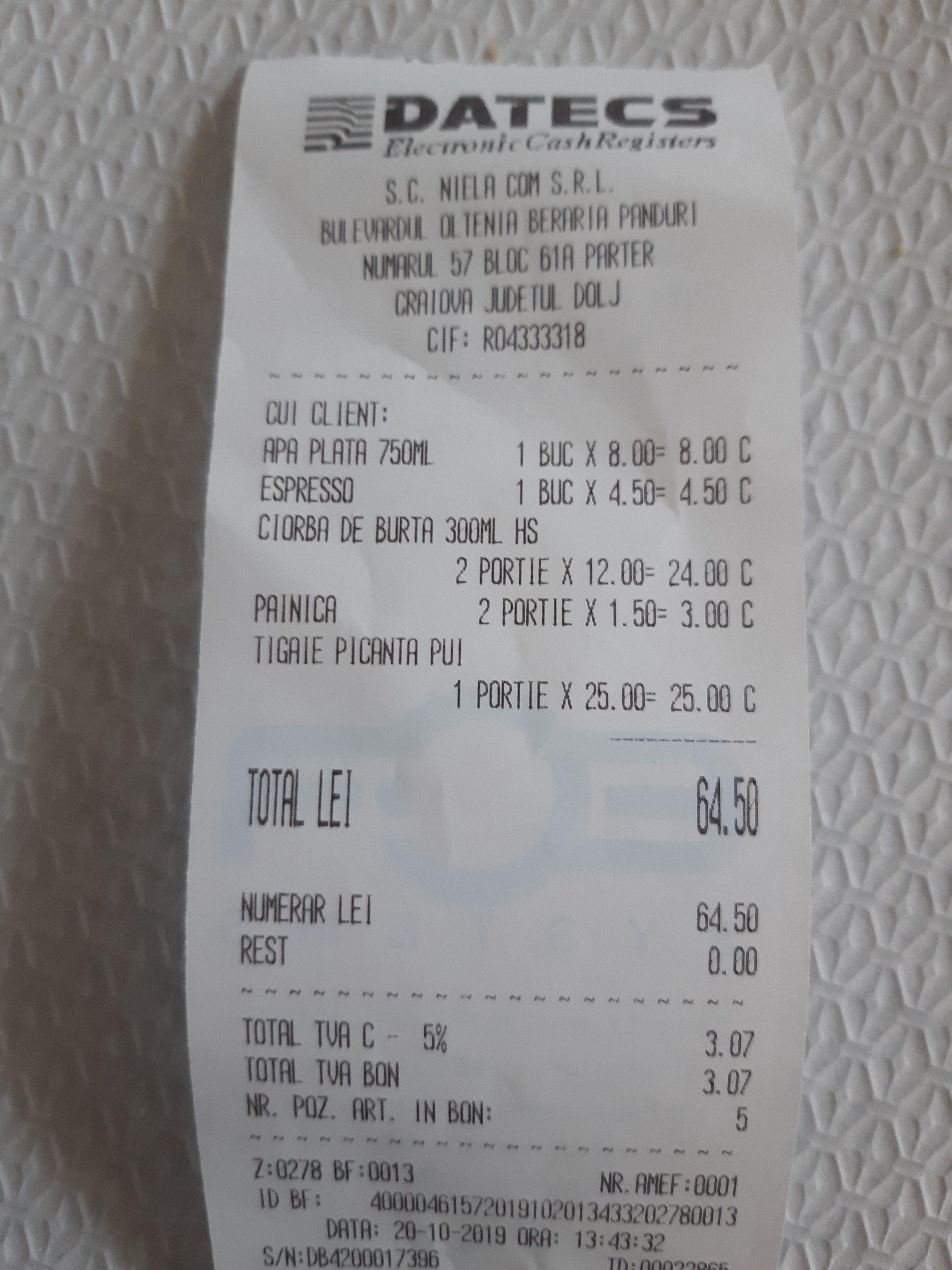 Bon fiscal restaurant Niela Craiova pret / cost mancare